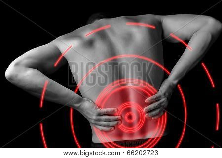 Acute Backache, Pain Area Of Red Color