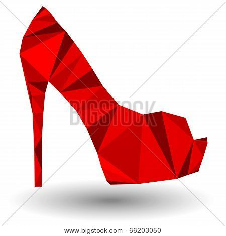 Red abstract high heel woman shoe in origami style