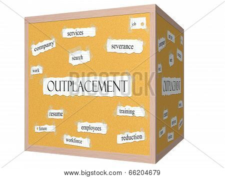 Outplacement 3D Cube Corkboard Word Concept