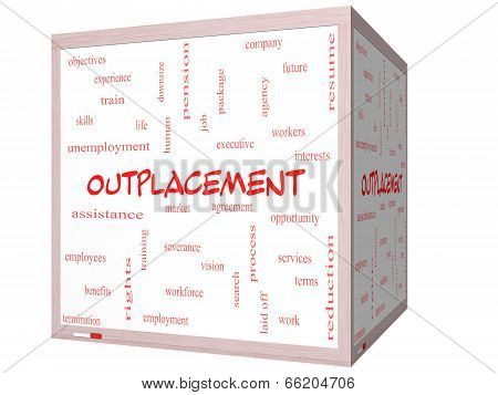 Outplacement Word Cloud Concept On A 3D Cube Whiteboard