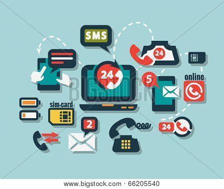 flat phone icons set