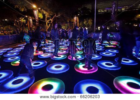 Participants Interact With Vivid Sydney The Pool Interactive Circles