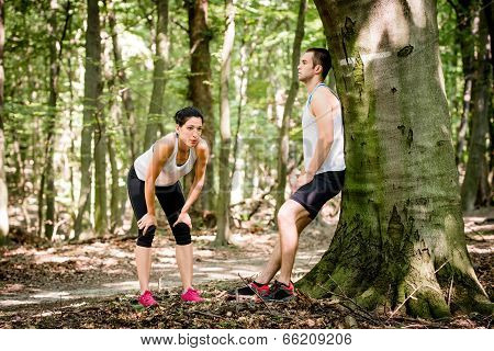 Couple resting after jogging