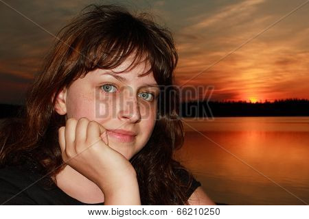 Caucasian Girl 13 Years Old, Closeup On Sunset Background