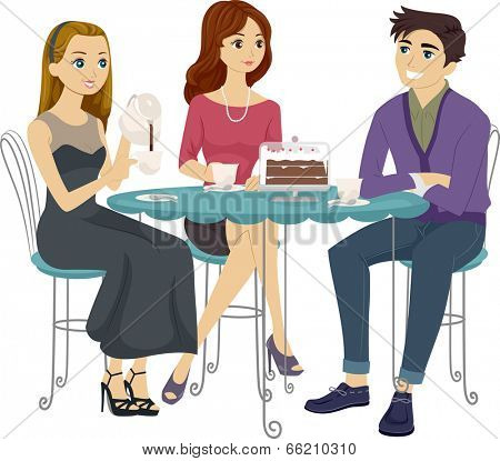 Illustration of Teens Having Coffee Together