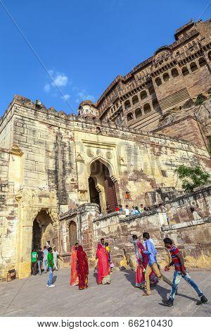 People Visit Meherangarh Fort - Jodhpur - India