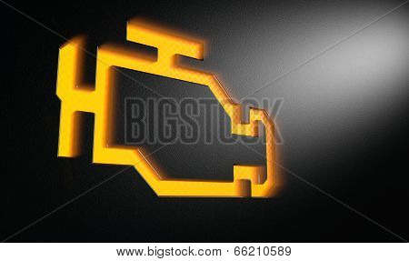 Orange Check Engine Indicator Dash Light