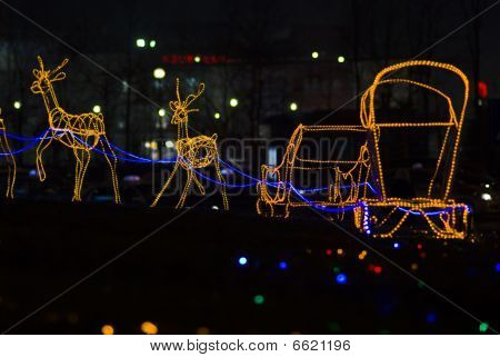 Christmas Reindeer Sleigh Lights Effects