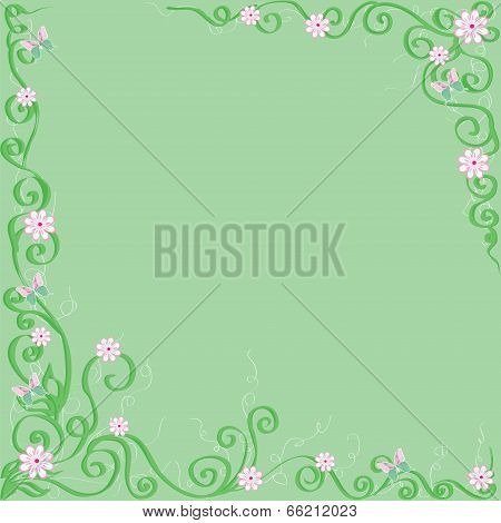 green background with flowers and butterflies.