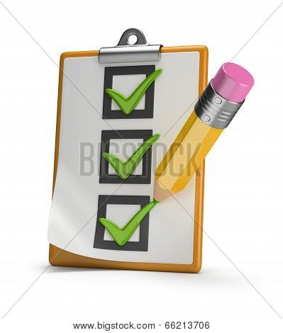 Checklist And Pencil