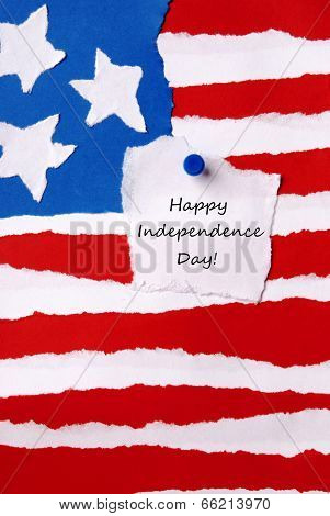 American Flag With Happy Independence Day Note