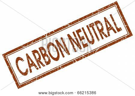 Carbon Neutral Brown Square Grungy Stamp Isolated On White Background