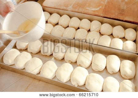 Brushing Egg Wash On Pastry