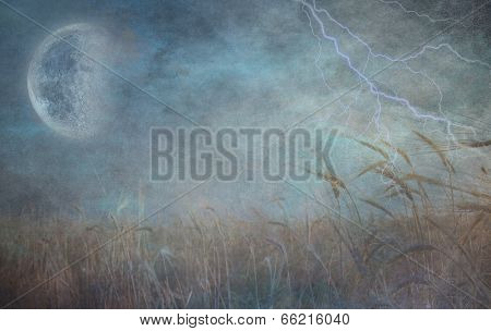 Heavily Textured Lightning Strike and Field of Grain