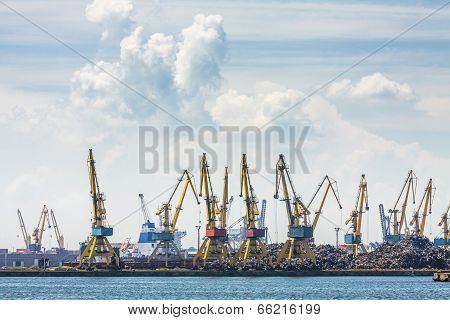 Shipyard, Cranes And Iron Waste