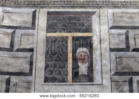 Painted Window Of An Old Building