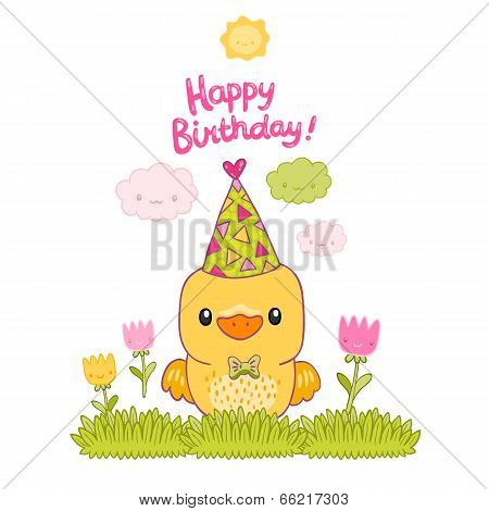 Happy Birthday card with a canary bird and tulips