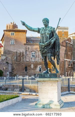 Rome. Bronze Sculpture Of The Emperor Octavian Augustus