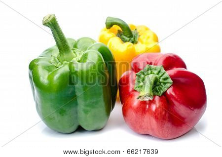 Bell Pepper Or Capsicum Isolated On White