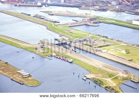 Aerial View At Sea Lock Ijmuiden, The Netherlands