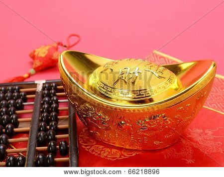 Chinese gold ingot and abacus mean symbols of wealth and prosperity.