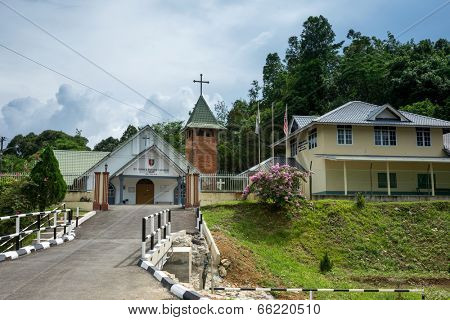 SARAWAK, MALAYSIA: JUNE 1, 2014: The St. John's Parish Church of Kampung Taee was established in 1916 AD by Anglican missionaries from England, spreads Christianity to the indigenous tribes here.