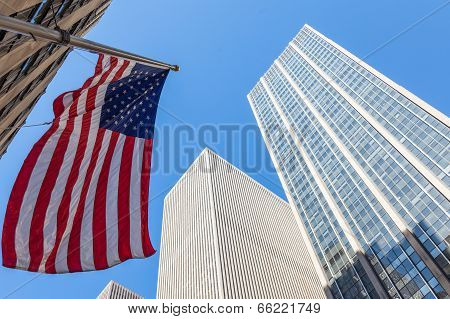 American Flag Stars And Stripes Floating In Front Of Manhattan Skycrapers, New York  - Usa