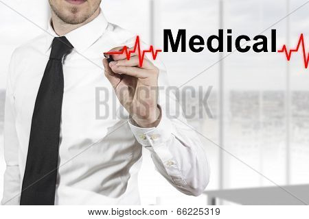 doctor drawing heartbeat line medical