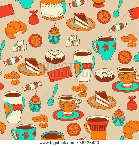 Seamless coffee and tea pattern with sweets