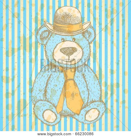 Sketch Teddy Bear In Hat And Cravat, Vector  Background