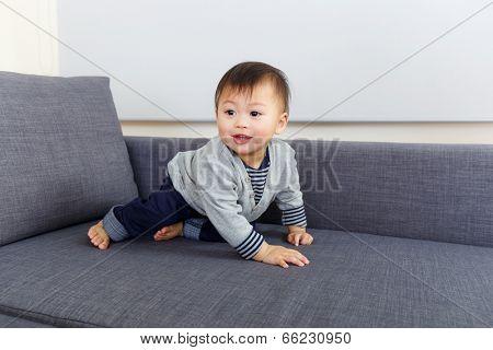 Baby boy creep on sofa