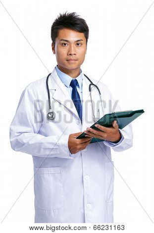 Doctor man hold clipboard