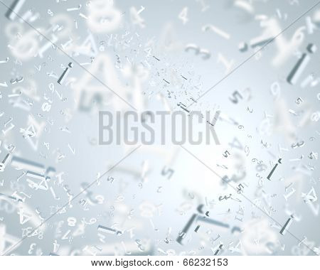 Background abstract image with characters flying in air