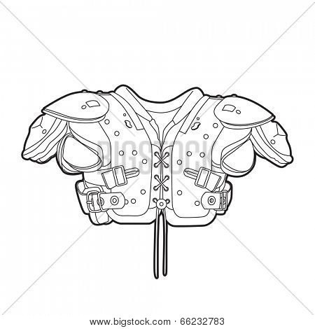 Outline football shoulder pads on white