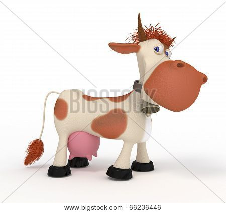 3D Cow On A Pasture.