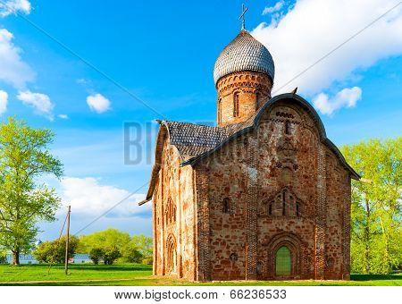 Orthodox Brick Church In Veliky Novgorod