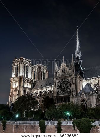 Notre Dame Cathedral in Paris illuminated at night