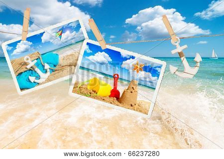Summer holiday postcards against a beach scene