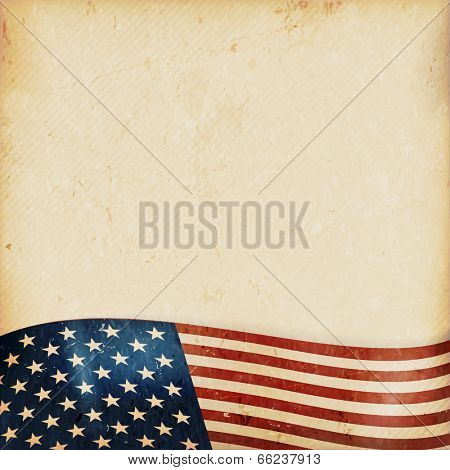 Vintage style grunge background with USA flag at the bottom. Grunge Elements and a faintly striped beige brown background give it a feeling resembling old paper, parchment.