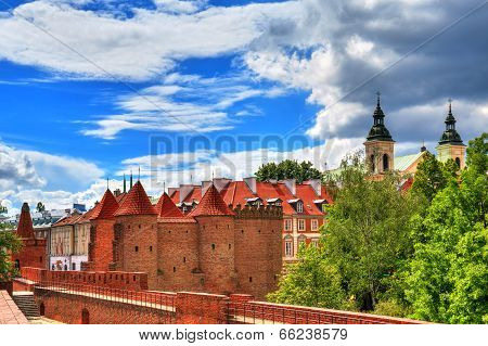 Old Town in Warsaw, the view of the Barbican