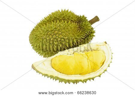 Durian Ripe And Part With Spikes Isolated