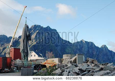 Industrial Site With Crane
