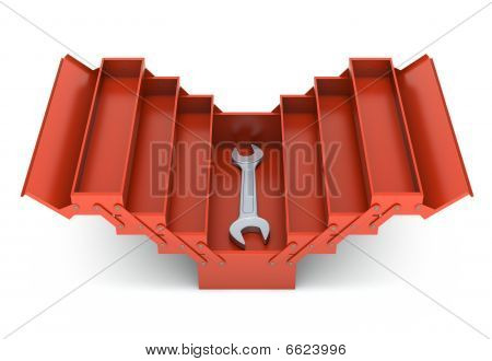 Red toolbox and spanner