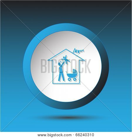 Family home. Plastic button. Vector illustration.