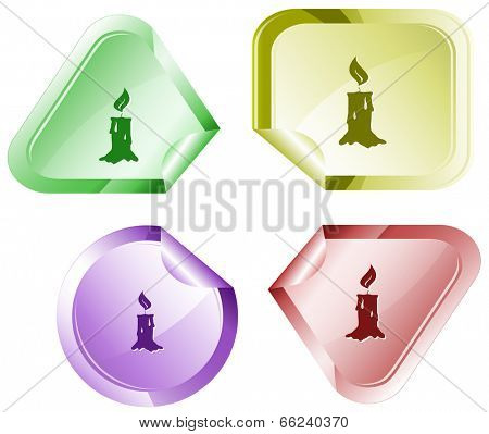 Candle. Vector sticker.