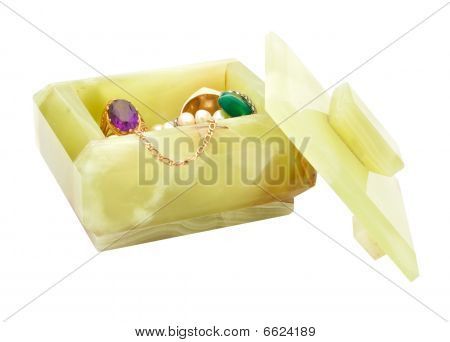 Box Of Onyx With Jewels isolated on white