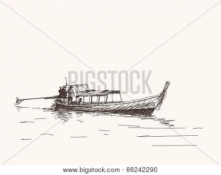 Long tail boat, Thailand. Hand drawn vector illustration
