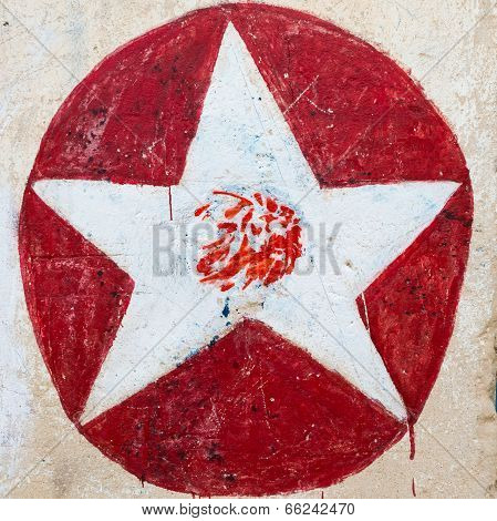 White Star On Red Circle Graffiti