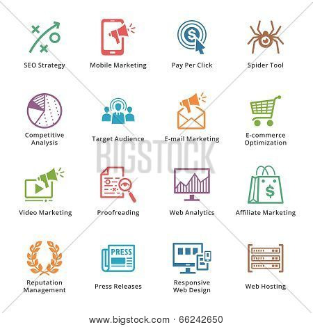 SEO & Internet Marketing Icons Set 3 - Colored Series