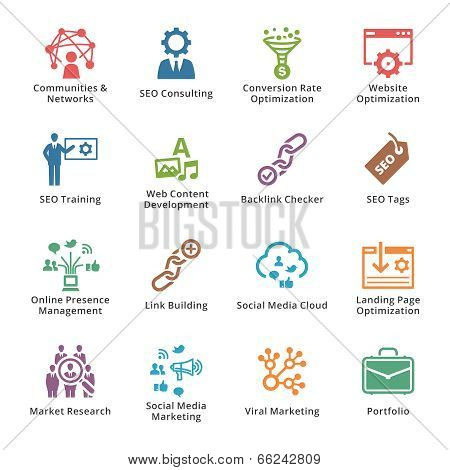 SEO & Internet Marketing Icons Set 2 - Colored Series